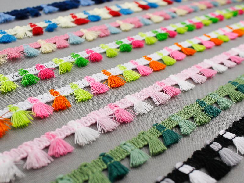 Nieuwe multicolor klosjes franje