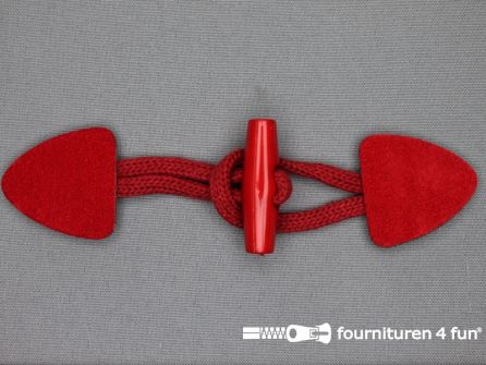 Suede houtje touwtje 150x40mm rood