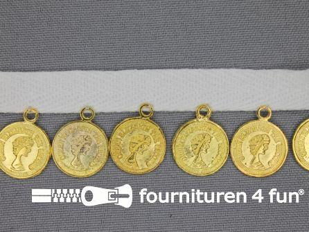 Muntenband 27mm wit - goud
