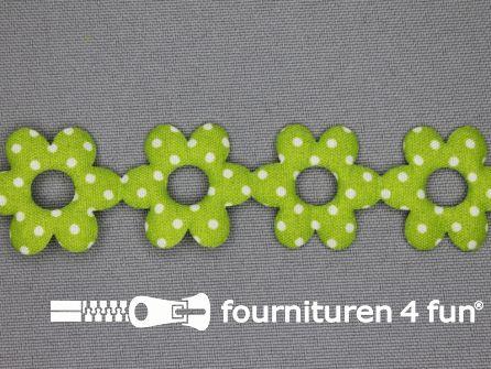 Guirlande bloemetjes 25mm lime groen - stippeltje