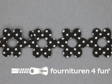Guirlande bloemetjes 25mm zwart - stippeltje