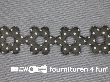 Guirlande bloemetjes 25mm donker grijs - stippeltje