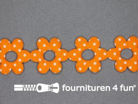 Guirlande bloemetjes 25mm oranje - stippeltje