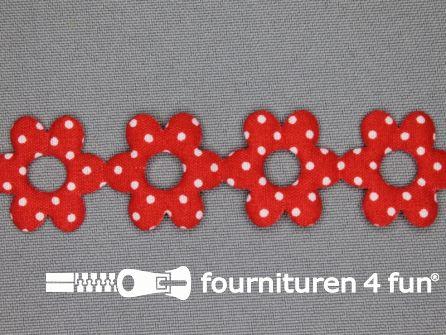 Guirlande bloemetjes 25mm rood - stippeltje