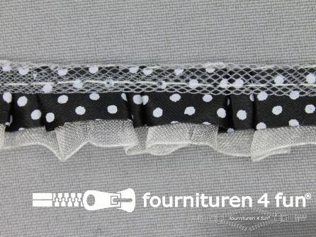 Plisse band 20mm zwart-wit gestipt