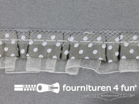 Plisse band 20mm midden grijs-wit gestipt