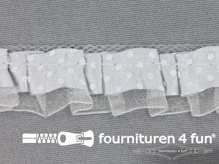 Plisse band 20mm licht grijs-wit gestipt
