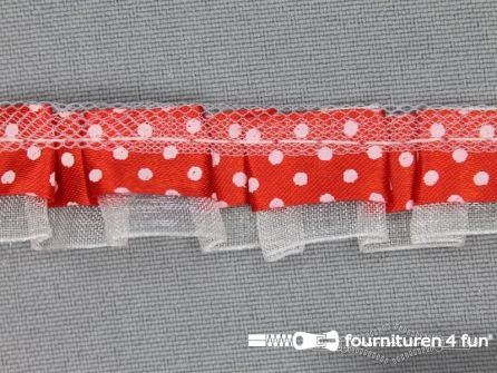 Plisse band 20mm rood-wit gestipt