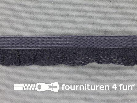 Elastisch kant 15mm donker grijs