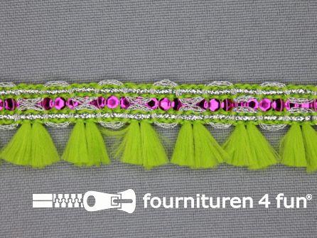 Klosjesband 19mm lime groen - fuchsia roze
