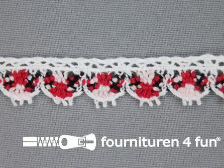 Kloskant 16mm wit - rood - zwart