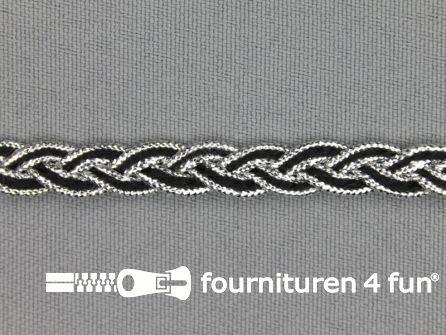 Gevlochten band 7mm zwart - zilver