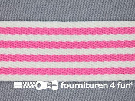 Gestreept tassenband 40mm fuchsia - wit