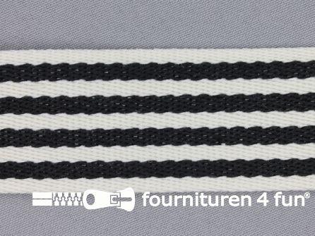 Gestreept tassenband 40mm zwart - wit