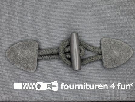 Suede houtje touwtje 150x40mm midden grijs
