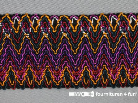 Elastiek met jaquardmotief 70mm zwart-paars-multicolor