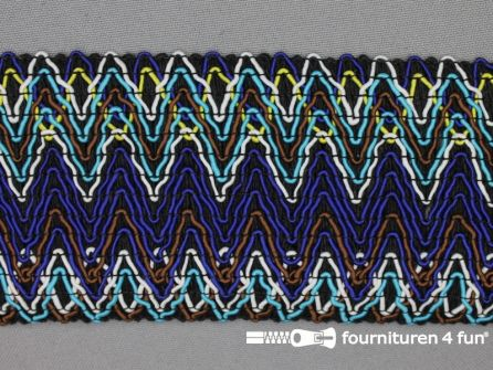 Elastiek met jaquardmotief 70mm zwart-blauw-multicolor