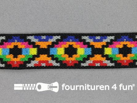 Elastiek met Inca motief 25mm multicolor (2)