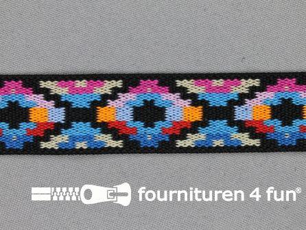 Elastiek met Inca motief 25mm multicolor (1)