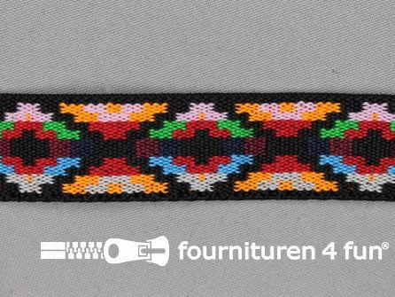 Elastiek met Inca motief 25mm multicolor (3)