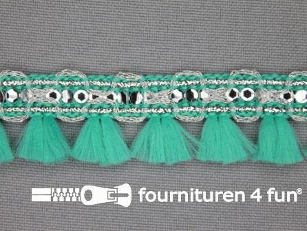 Klosjesband 19mm turquoise groen - zilver
