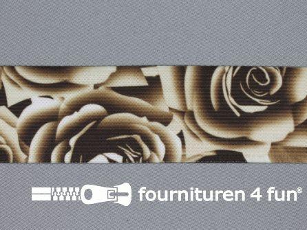 Elastiek met grote roos 40mm beige - bruin