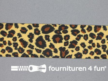 Elastiek met luipaardmotief 40mm bruin - beige