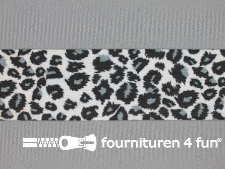 Elastiek met luipaardmotief 40mm zwart - grijs