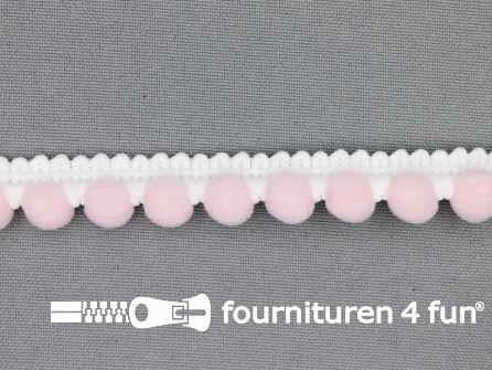 Bolletjesband 15mm licht roze - wit