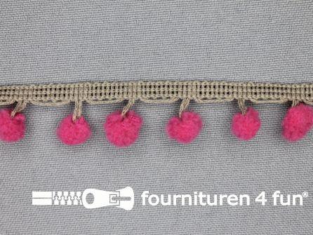Bolletjesband 16mm fuchsia - taupe