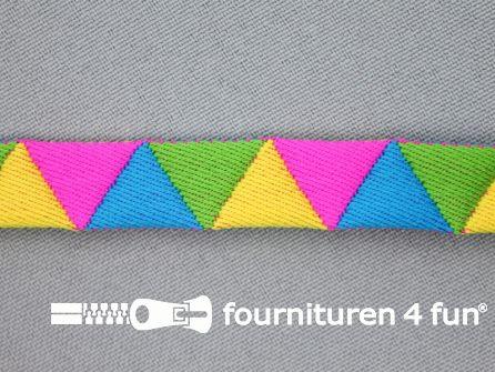 Modern band 13mm driehoek multicolor - fel roze