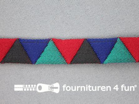 Modern band 13mm driehoek multicolor - bordeaux - zwart