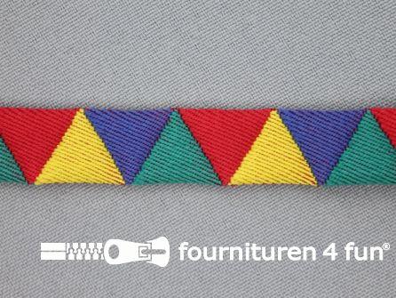 Modern band 13mm driehoek multicolor - geel - rood