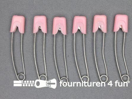 Luierspelden 58mm roze  6 stuks