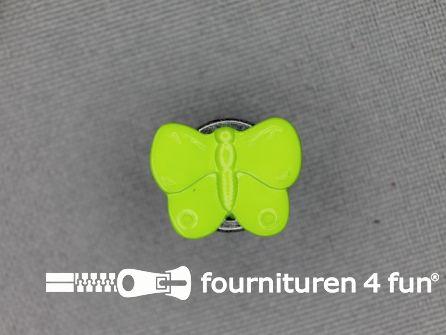 Kinderknoop 16mm vlinder - lime groen
