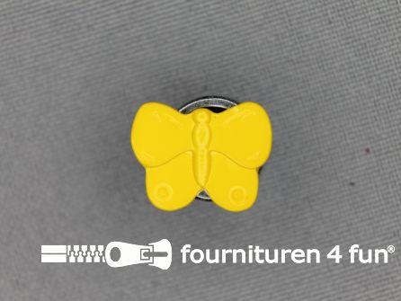 Kinderknoop 16mm vlinder - geel