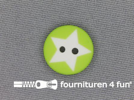 Kinderknoop 15mm ster - lime groen