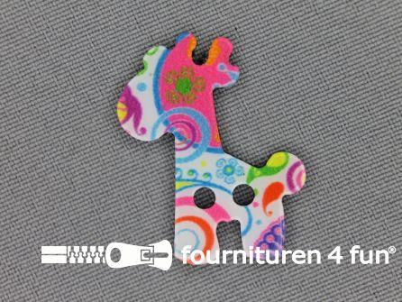 Fantasie knoop 25mmx28mm giraf - multicolor