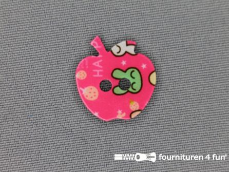 Fantasie knoop 17mm appel - fel roze