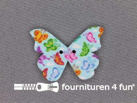 Fantasie knoop 26mmx18mm vlinder - licht blauw
