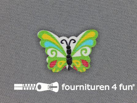Fantasie knoop 21mmx17mm vlinder - groen
