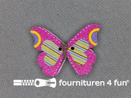 Fantasie knoop 21mmx20mm vlinder - fuchsia -streepje