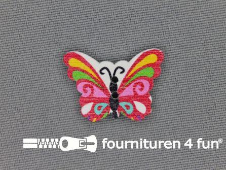 Fantasie knoop 22mmx17mm vlinder - rood -roze