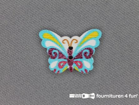 Fantasie knoop 22mmx17mm vlinder - licht blauw - bordeaux