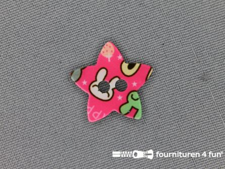 Fantasie knoop 20mmx20mm ster - fel roze