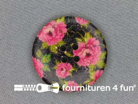 Fantasie knoop 30mm roosjes - zwart