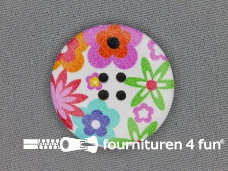 Fantasie knoop 30mm bloemetjes - wit