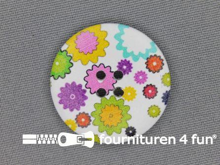 Fantasie knoop 30mm kleine bloemetjes - wit