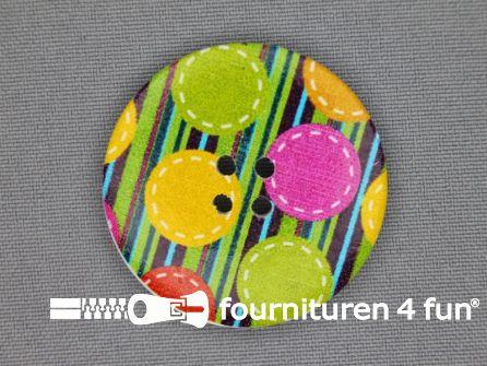 Fantasie knoop 40mm streepjes - bolletjes