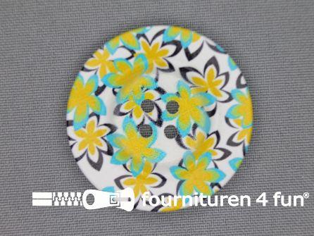 Fantasie knoop 40mm bloemetjes - hawai